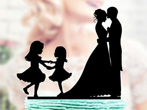 qidushop Hochzeitstortenaufsatz für Brautpaar, für zwei kleine Mädchen, Braut und Bräutigam, für Hochzeit, Party, Gastgeschenke zum Hochzeitstag