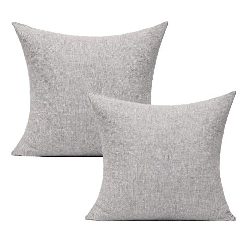 All Smiles Light Grey Cushion Covers Solid Gray Outdoor Patio Throw Pillows for Sofa Bed Couch 18'x18' Set of 2 Decorations Pillowcase Linen Square Ash Grey 45×45cm