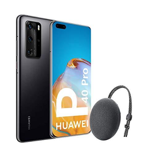 Huawei P40 Pro 5G - Smartphone de 6,58' OLED (8GB RAM + 256GB ROM, Cámaras Leica (50+40+12+TOF), zoom 50x, Kirin 990 5G, 4200 mAh, EMUI 10 HMS) Negro + altavoz CM51 [Versión ES/PT]