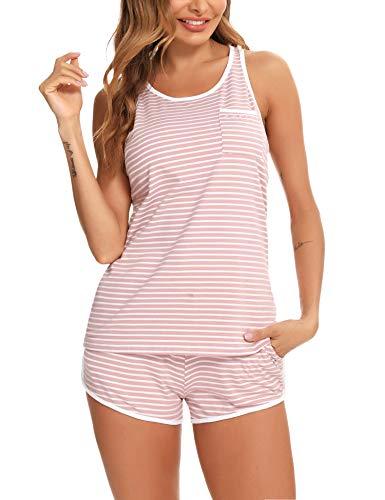 Doaraha Conjunto Pijama Corto Mujer Ropa de Dormir Algodón Camiseta a Rayas sin Mangas Pantalones Cortos Conjunto de Pijamas para Mujer Suave y Transpirable Dos Piezes