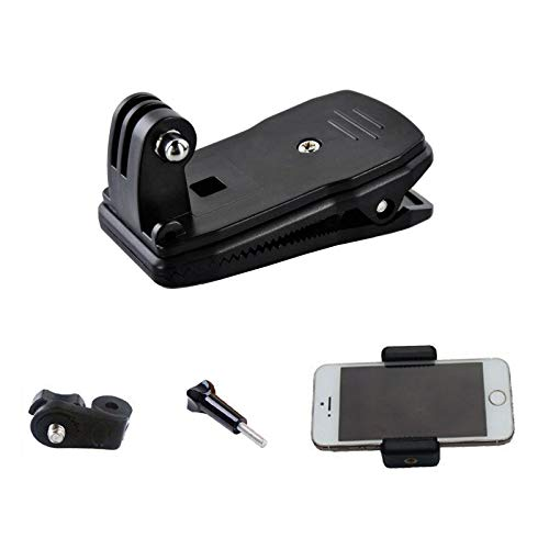 Supkeyer Cellphone Selfie Mount 360 Degree Quick Release Rotary Backpack Hat Clip Fast Clamp for Sony Action Cam/Gopro Hero/Cell Phone/iPhone XR XS Max X 8 7 6 Plus/Samsung LG Sony 55-85 mm Phone