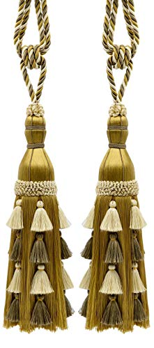 Pair of Large Elegant Off White, Beige, Gold Curtain & Drapery Tassel Tieback / 33cm tassel, 89cm Spread (embrace), Style# TBAR13 Color: Birch - AR01