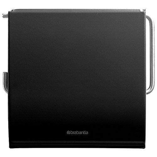 Brabantia Toilettenpapierhalter in matt schwarz, Edelstahl, 30 x 20 x 10 cm