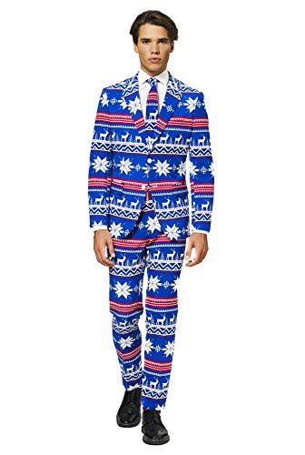 Stylish, High-Quality Blue Suit With Christmas Print. Perfect As A Christmas Or Halloween Costume And Other Year-Round Occasions Such As A Bachelor Party, A Wedding, A Festival, A Sporting Event Or Any Type Of Party Where You Want To Stand Out. Worn ...