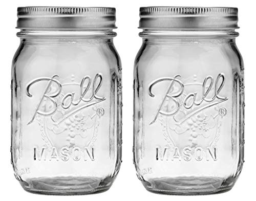 Ball Pint Jar with Lids and Bands, Regular Mouth,16-oz, 2-Pack