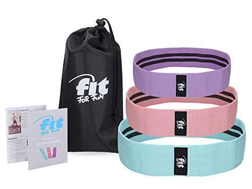 Fit for Fun Fitnessbänder im 3er Set, Resistance Loops in 3 Längen, elastische Gymnastikbänder, mit Übungen & praktischer Tasche, Fitnessgerät/Hometrainer für Frauen & Männer