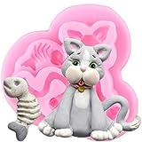 FGHHT Moldes de Silicona 3D Animales Perro Gato DIY Hueso de Pescado Cupcake Topper Fondant Herramientas de decoración de Pasteles Caramelo ArcillaMolde deChocolate