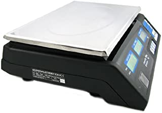Digital Preiswaage 40 kg / 5 g wasserdicht mit LCD Display Akku - Preisrechenwaage Edelstahl Paketwaage Küchenwaage Digitalwaage