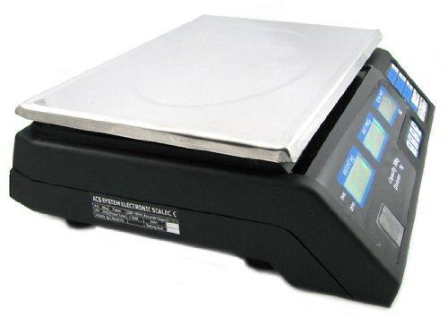 Digital Preiswaage 40 kg / 5 g (wasserdicht) mit LCD Display Akku - Preisrechenwaage Edelstahl Paketwaage Küchenwaage Digitalwaage