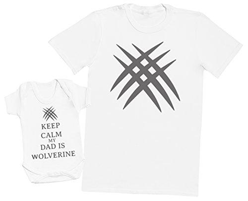 Keep Calm My Dad is Wolverine - Ensemble Père Bébé Cadeau - Hommes T-Shirt & Body bébé - Blanc - Large & 12-18 Mois