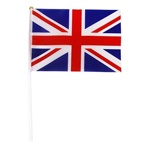 SM SunniMix 12x Reino Unido Bandera De La Mano Bandera De Union Jack Bandera Inglaterra Gran Bretaña Postes Pequeños