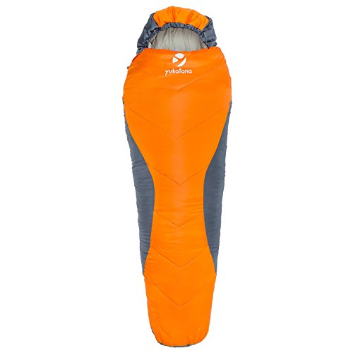 Yukatana Olearus Sacco a Pelo per Ragazzi con innovativa Imbottitura Fibra H4 (Sacco a Pelo a Mummia, per Temperature dai 15 a -5 ° C, 70 x 180 x 50 cm,1,25 kg) - Arancione