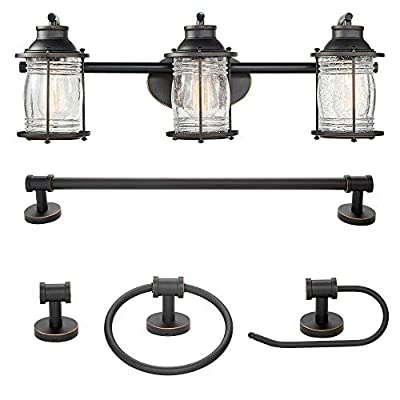 Globe Electric 51549 Bayfield 5-Piece All-in-One Bathroom Set, 3 Vanity Light with Ribbed Shades, Bar, Towel Ring, Robe Hook, Toilet Paper Holder, Oil Rubbed Bronze with Seeded Glass