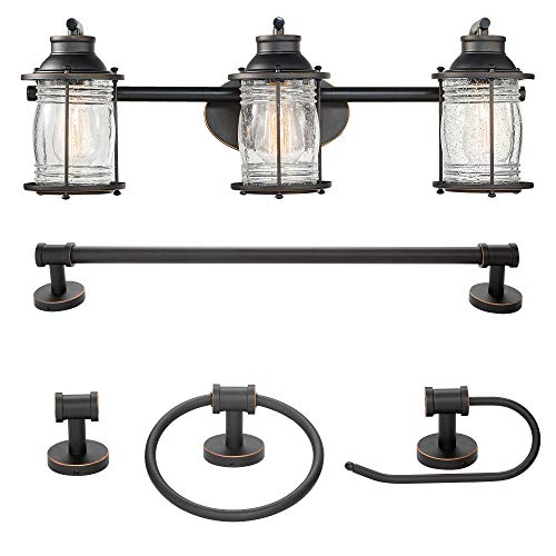 Globe Electric 51549 Bayfield 5-Piece All-in-One Bathroom Set, Oil Rubbed Bronze, 3 Vanity Light with Ribbed Seeded Glass Shades, Bar, Towel Ring, Robe Hook, Toilet Paper Holder