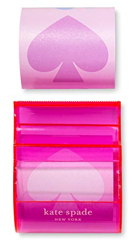 Kate Spade New York Sticky Note Set with Dispenser, Desk Organizer Includes 2 Sticky Rolls with Customizable Length, Assorted