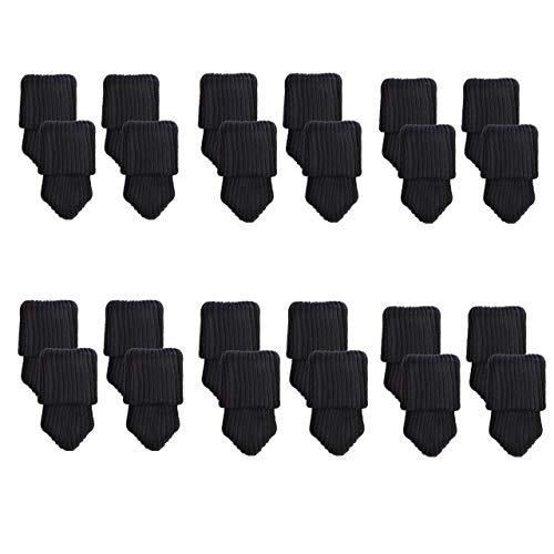 Mogoko 24 x Stuhlbeinsocke Stuhlsocken Möbel Socken Anti-Rutsch Wollsocken Hocker Tabellen Cotton Stuhlkappen Stuhl-Fußboden-Schutz Floor Protector (schwarz)
