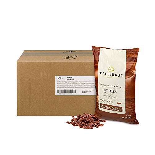 Callebaut 823 Milk Chocolate Callets - 22 LBS Belgian Baking Chocolate Callets - Min 30.2% Cocoa butter, 4.9% fat free cocoa, 6% Milk fat, 15.8% Fat free milk - Recipe 823NV-595 - 22 Lbs (10 kg)