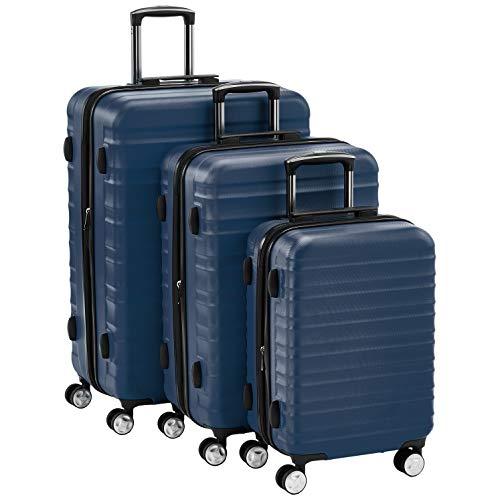 Amazon Basics - Juego de 3 maletas rígidas giratorias prémium (55 cm, 68 cm, 78 cm), azul marino