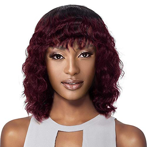 ISHINE 12 Inch Short Loose Wave Wig Colored Wig 150 Density OT530, Natural Black (1B) / Burgundy (530) - Short Curly Bob Wig With Bangs - 100% Human Hair Short Loose Curl Wig For Black Women