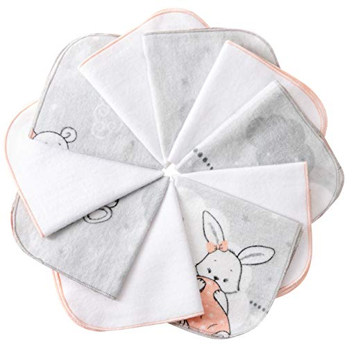 mimaDu® Molton Flanell Baby Waschlappen aus 100% OEKO-TEX Baumwolle 10er Set - 25x25 cm - Flanelltücher Kinderservietten - weich und flauschig.