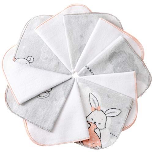 mimaDu Molton Flanell Baby Waschlappen aus 100% OEKO-TEX Baumwolle 10er Set - 25x25 cm - Flanelltücher, Kinderservietten - weich und flauschig- weiss grau rosa.