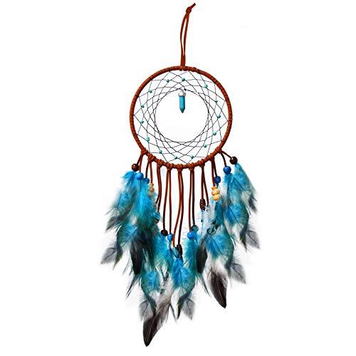 Acchiappasogni Originale Fatto a Mano Dreamcatcher per Auto Naturali Piume e Perline Casa Parete Ornamento Appeso Regalo Artigianale (blu)