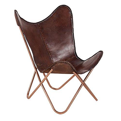 Invicta Interior Echtleder Sessel Butterfly echtes Leder braun Eisengestell in Kupfer Stuhl Lounge Esszimmer Klappstuhl Loungesessel Liegestuhl Campingstuhl