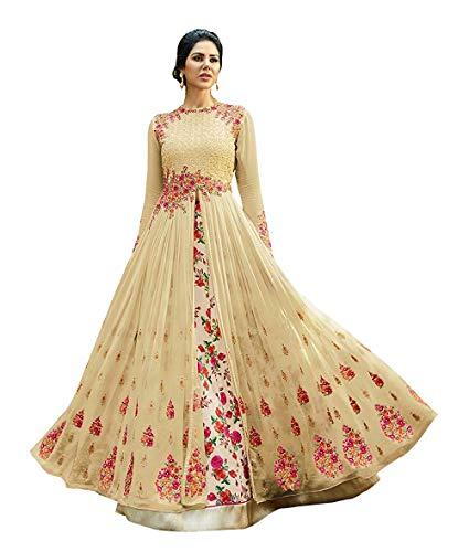 VintFlea 'Womens modische Net Heavy Bridal Gown' mit Emroidered Arbeit, Semi Stitched, Anarkali Anzug, indischen ethnischen Look, für Hochzeitskleidung & gelegentlich, freie Größe - Creme