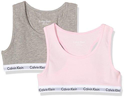Calvin Klein Mädchen BH 2PK Bralette, Grau (Grey Htr/Unique 901), 146 (Herstellergröße: 10-12)