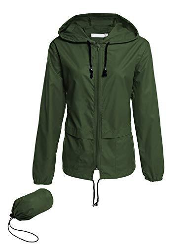 Avoogue Lightweight Raincoat Women's Waterproof Windbreaker Packable Outdoor Hooded Rain Jacket Dark Green XL