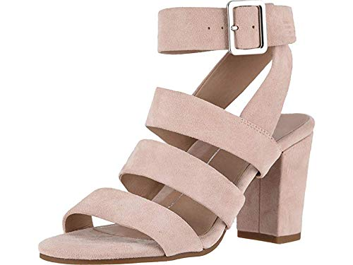 Vionic Women's Perk Blaire Open Toe Heel - Ladies Strappy Sandal with Concealed Orthotic Arch Support Rose Suede 6.5 Medium US
