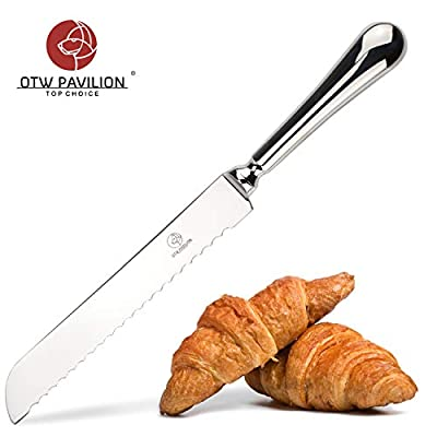 OTW PAVILION Serrated Bread Knife 7 Inch Super Sharp Stainless Steel Bread Cutter Durable Bread Slicer with Hollow Handle for All Types of Bread