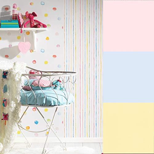Fröhliche ESPRIT Papiertapete Bunte Punkte Streifen Baby Kinderzimmer Tapete Wand Bordüre Kinderzimmertapete Made in Germany (10.05 m x 0.53 m, Papiertapete Blau)