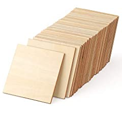 50Pcs Wood Pieces Set - 4 x 4 inches square blank unfinished wood, thickness: 1/8 inches. Enough for your DIY crafts projects needs. Natural Wood - Sturdy, durable, eco-friendly and no pungent smell. Wooden Squares Cutouts with smooth surface, great ...