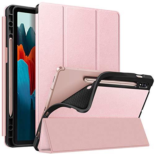 FINTIE Custodia per Samsung Galaxy Tab S7 11'' 2021 SM-T870/T875 con Built-in S Pen Holder, Leggero Cover Case Posteriore in Morbido TPU con Auto Svegliati/Sonno, Oro Rosa