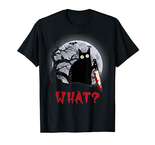 Katze Lustig Cat What?Murderous Funny Black Cat with Knife T-Shirt