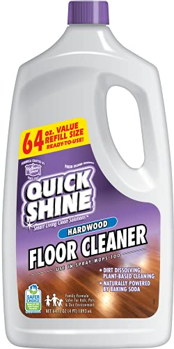 Quick Shine High Traffic Hardwood Floor Cleaner Spray Mop Solution, 64 Fl. Oz, Naturally Powered by Baking Soda for Easy Streak-Free Zero-Residue Cleaning