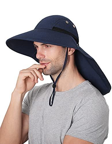 Sombreros para el Sol Hombre, Gorra Transpirable ala Ancha protección UV Protege Cuello Cara, Sombrero Jardin Hombre Adecuado para Trekking (Azul Marino)
