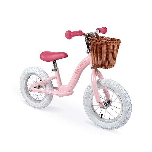 Janod J03295 Metall-Laufrad, Retro-Vintage-Aussehen, Gleichgewicht und Unabhängigkeit lernen, verstellbarer Sattel, aufblasbare Reifen, mit Korb, Rosafarben, für Kinder ab 3 Jahren