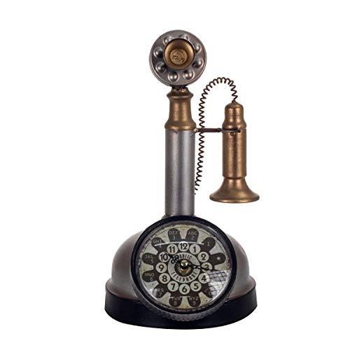 Reloj Sobremesa Decorativo Teléfono Vintage Metálico Plateado 30 cm