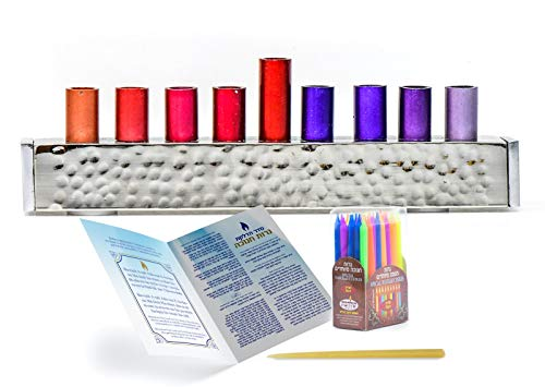 HOLY VOICE Hanukkah Menorah Premium Set – Complete Set with Chanukah Candles, Silver-Plated Menorah – Prayer Book with English and Hebrew Translation. (red)