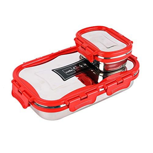 Cello Click It Stainless Steel Lunch Pack For Office & School Use (Veg Box Included, Red)