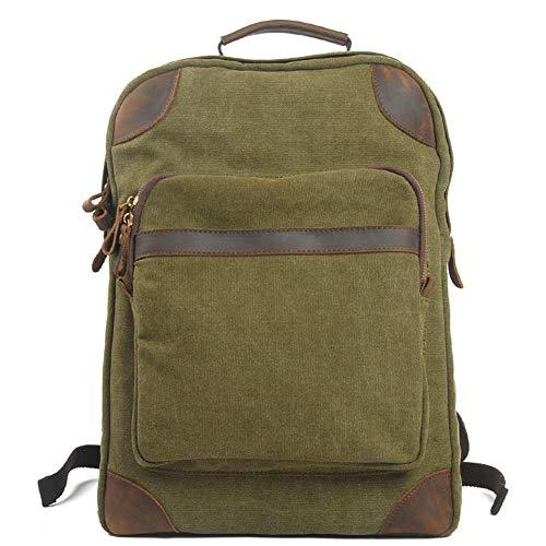 Herrentasche Leinwand im Freien Rucksack Herrenmode Trend Großvolumige Rucksack Reisen Shopping Freizeit-Männer Tasche (Color : Green, Size : S)