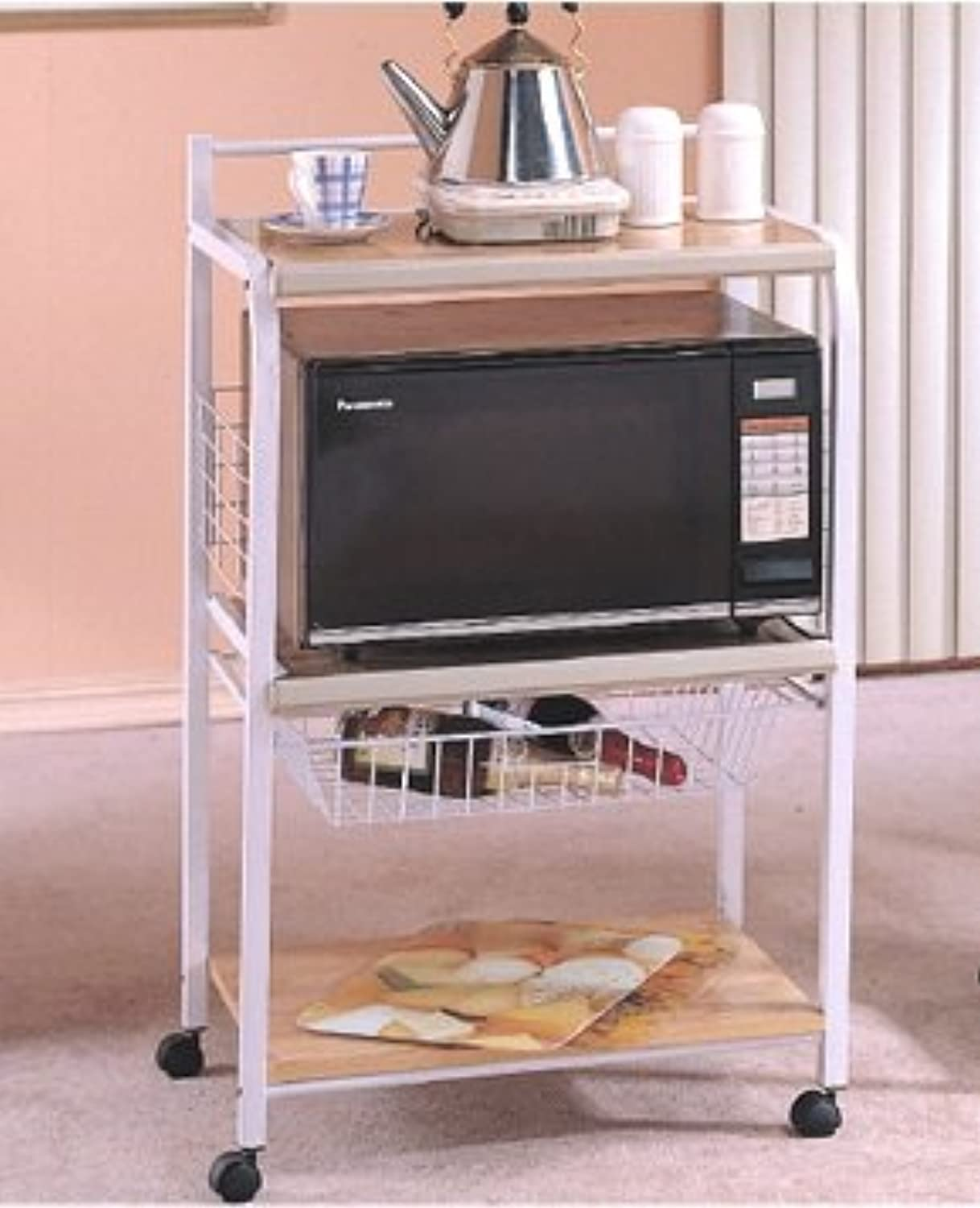 3 Tier Portable Metal Microwave Serving Cart, White