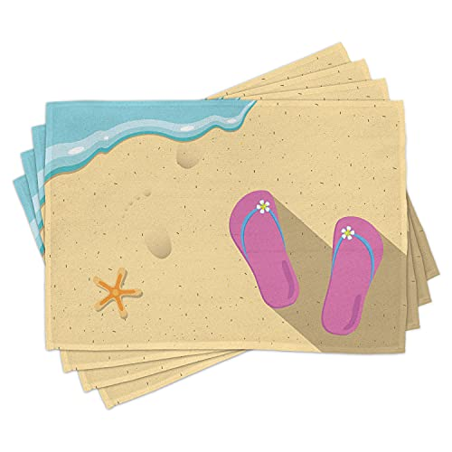 Ambesonne Flip Flop Place Mats Set of 4, Pinky Beach Thong and Starfish on Grainy Looking Sands by The Waves, Washable Fabric Placemats for Dining Room Kitchen Table Decor, Seafoam Pink and Cream
