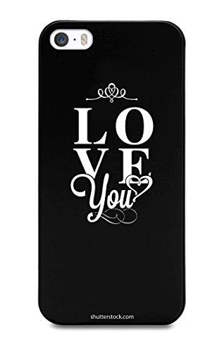 Muvit MUPRBKCIP5S1168-Cover per iPhone 5/5S, con Scritta Love You, Colore: Nero