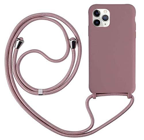 Ququcheng Cover Compatible con iPhone 12 Mini(5,4'),Cellulare Girocollo Custodia con Cordino TPU Corda Silicone Case Bumper per iPhone 12 Mini(5,4') Custodia-Rosa Oro