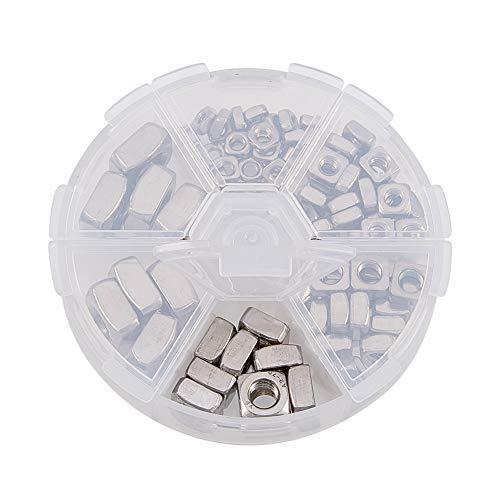 Increway Vierkantmuttern, aus Edelstahl, Sortiment, quadratisch, Silberfarben