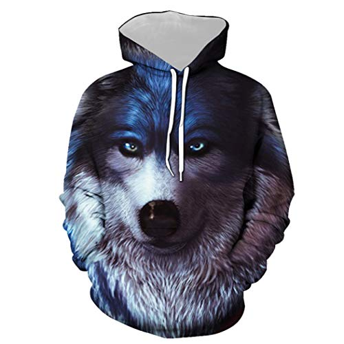 Herren Pullover Hooded Graphic Sweatshirt, Realistic Wolf Portrait Pattern Lustiger Print Hoodie, Liebhaber Teen Unisex Hooded Loose Daily Casual Sportswear (Color : Multi-Colored, Size : XXL)