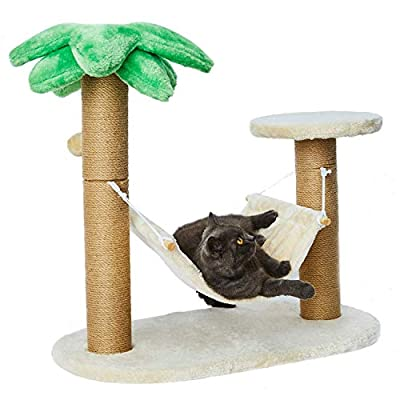 LUCKITTY Small Cat Scratching Posts Kitty Coconut Tree-Cat Scratch Post with Hammock and Hang Ball Toys for Cats and Kittens - Plush and Sisal Scratch Pole Cat Scratcher (Large)